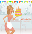 girl with birthday cake with candles vector image