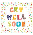 Get well soon card with pills Greeting card vector image