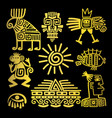 maya style gold linear totem icons vector image