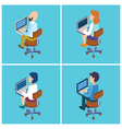 People with Laptop Isometric People Businessman vector image