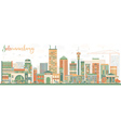 Abstract Johannesburg Skyline with Color Buildings vector image