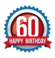 Sixty years happy birthday badge ribbon vector image