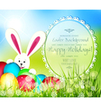 easter background with frame for text rabbit and e vector image vector image