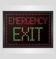 emergency exit led digital sign vector image