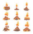 cartoon bonfires set types of tourist tcampfires vector image vector image