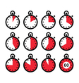 Time clock stopwatch red icons set vector image vector image