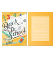 back to school greeting card set vector image