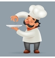 Chef Cook Serving Food 3d Realistic Cartoon vector image