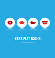 flat icon lips set of teeth smile kiss and other vector image