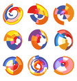 isolated abstract colorful pie chart logos set vector image