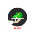 round profit logo with hand vector image