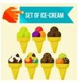 set of ice cream horns vector image