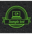 retro label with laptop icon vector image