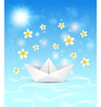 Background with paper boat and flowers vector image