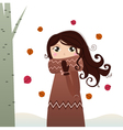 Cute autumn lady in coat and scarf vector image vector image