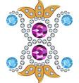 Gold gemstones brooch vector image vector image