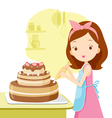 Girl Making Cake vector image