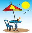 beach umbrella table chair and juice vector image