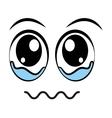cryingface emoticon isolated icon design vector image
