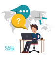 call center man desk work talk vector image