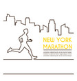 line silhouettes of male runner running marathon vector image
