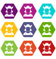 male avatar icon set color hexahedron vector image