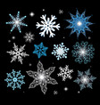 new year set of different snowflakes vector image