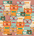 seamless pattern with colorful cats in glasses vector image