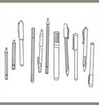 stationery art materials set of pens and pencils vector image