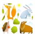Wild baby animals clip art collection fox rabbit vector image