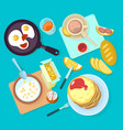 fresh healthy breakfast food and drinks top view vector image