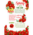 springtime holidays poster with spring flower vector image