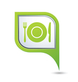 restaurant icon on green map pointer vector image vector image