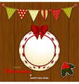Christmas wood background with bunting and bauble vector image vector image