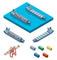 container ship with crane vector image