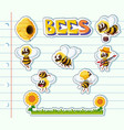 bees and flower garden on line paper vector image