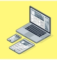 Isometric laptop on a yellow background Tablet vector image