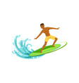 smiling african american man with surfboard vector image