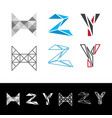 Abstract letter h z y logotype vector image