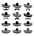 Mexican Sombrero hat with moustache icons vector image