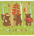 merry christmas bear vector image vector image