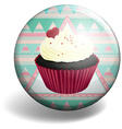 Cupcake on the badge vector