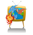 Dragon blowing fire on TV vector image