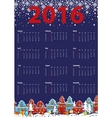 Calendar 2016 yearLittle townwinter night vector image