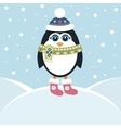 Cute penguin in winter vector image