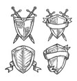 old or retro medieval royal signs as shields vector image