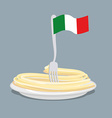 Plate of pasta with flag of Italy Spaghetti with a vector image