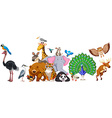 Wild animals standing in group vector image