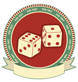 Dices label background on white vector image