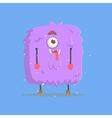 Giant Violet Furry Square Monster In Winter vector image